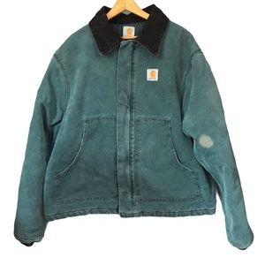 Carhartt Vintage J02 Quilted Worn In Coat Teal